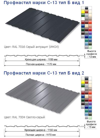 Профнастил С13-1150 Тип Б, вид 1,2