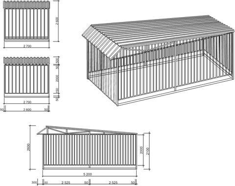 Фото: Закрытый навес из профнастила (гараж) для автомобиля, схема и размеры